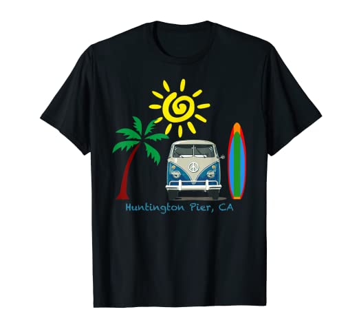 Amazon com: Great Beach T-shirt for Huntington Beach Pier: Clothing