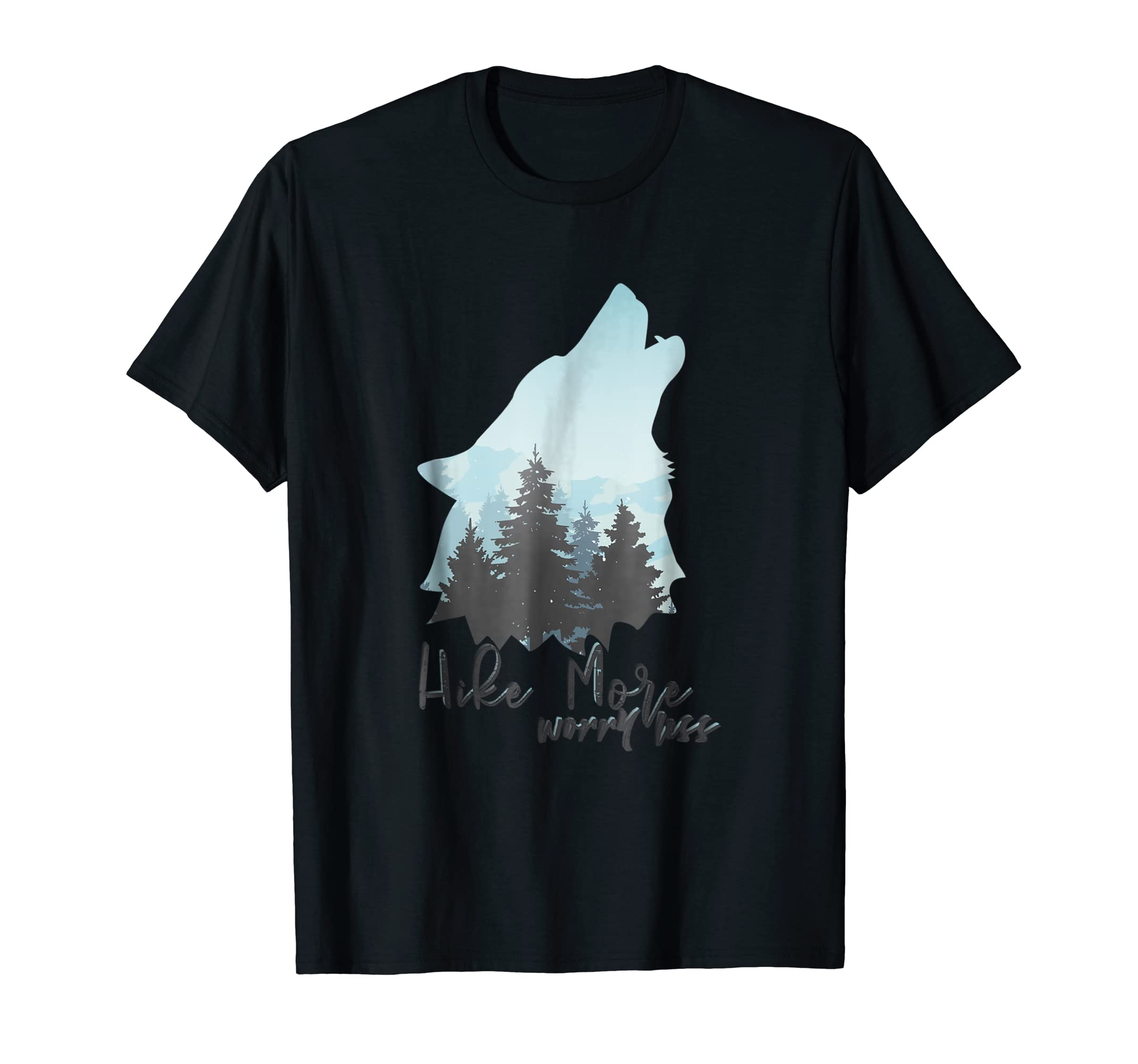 Hike More Worry Less Gifts for Wolf lovers T-Shirt-Men's T-Shirt-Black