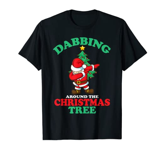 0d7f2614b Image Unavailable. Image not available for. Color: Dabbing Around The Christmas  Tree Shirt Funny ...