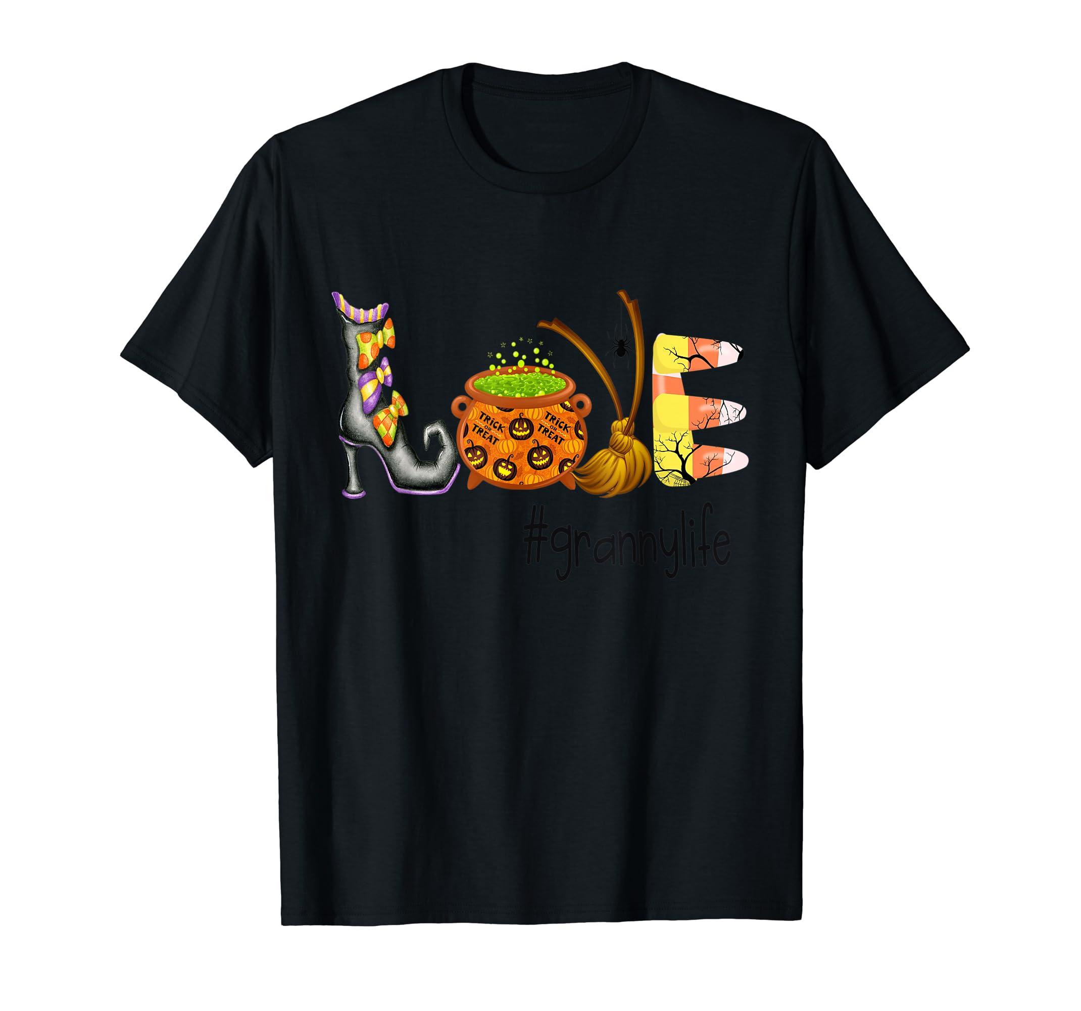 Love #Grannylife Tshirt - Halloween Tshirt-Men's T-Shirt-Black