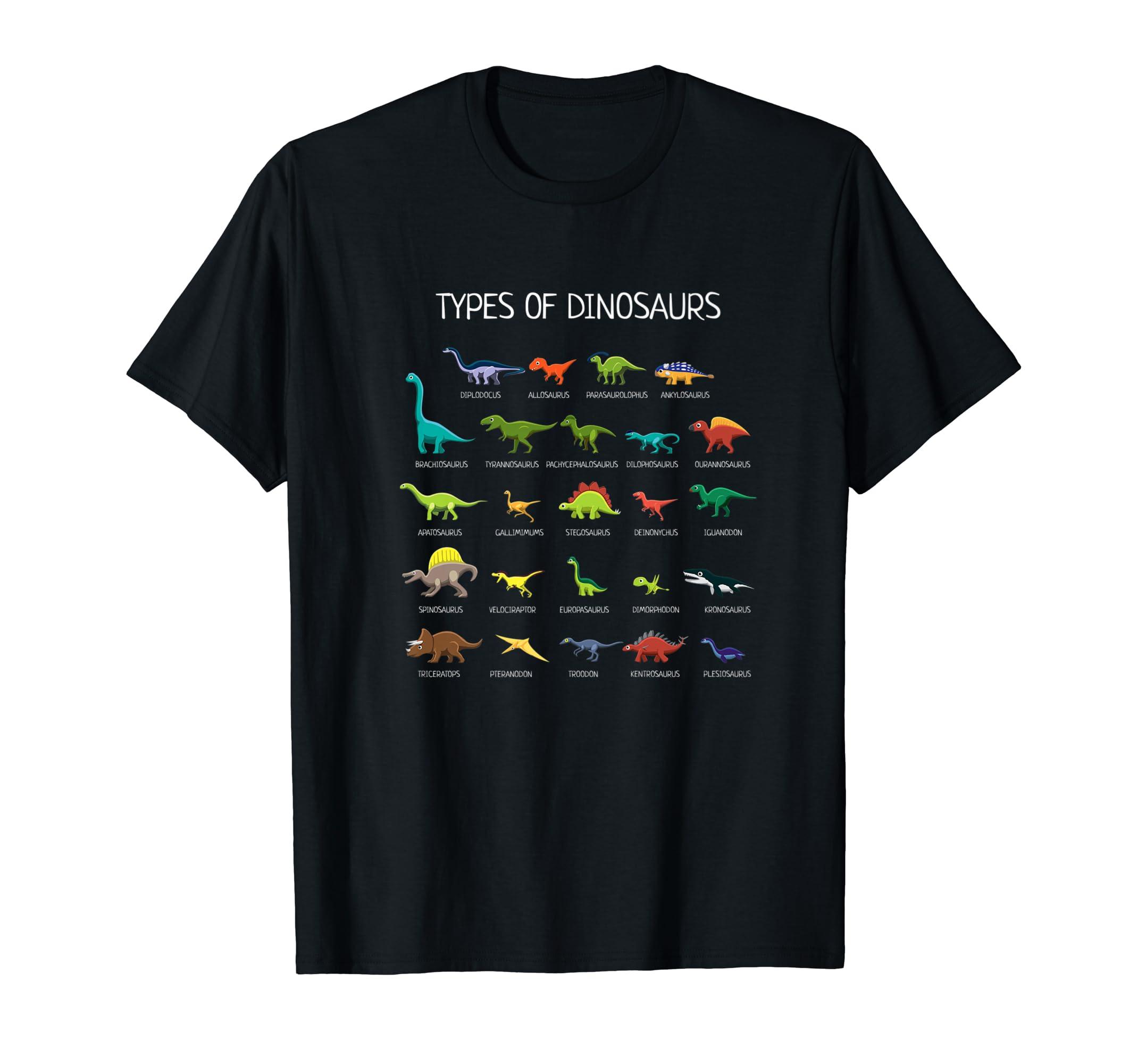 Types Of Dinosaurs T-Shirt-Men's T-Shirt-Black