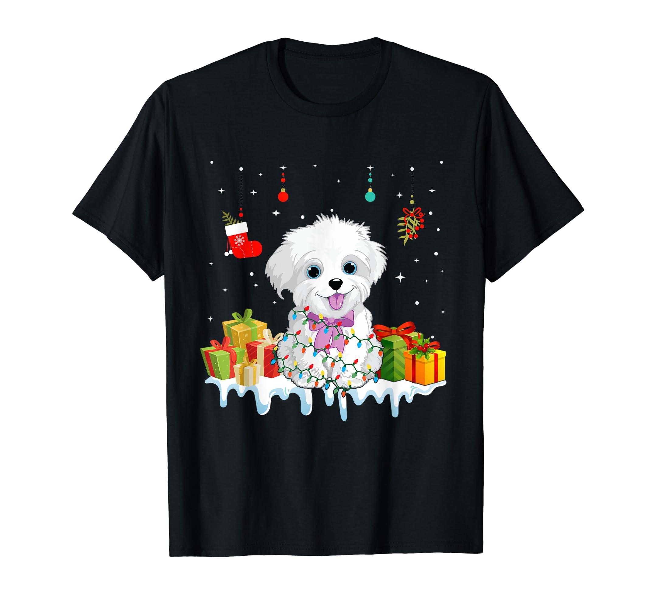 Matching Christmas Gifts Maltese Dog Light Xmas T-Shirt-Men's T-Shirt-Black
