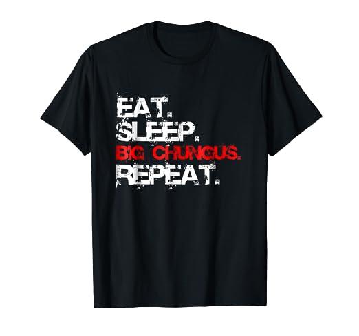 Amazon Com Eat Sleep Big Chungus Repeat Meme Red Box Logo T Shirt