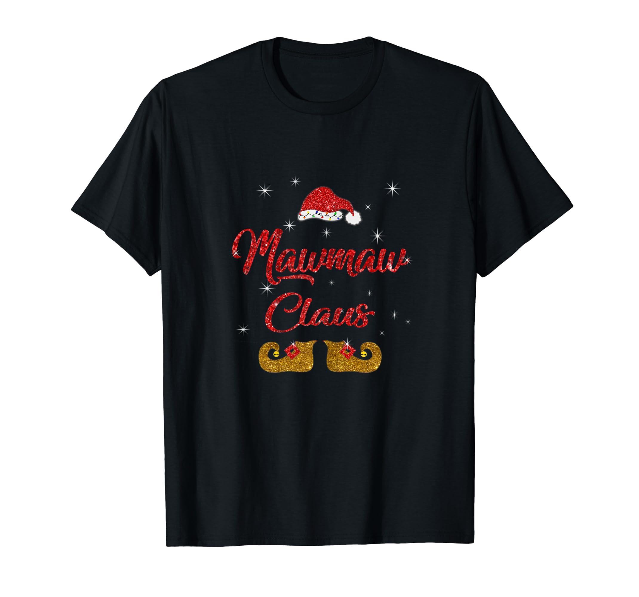Womens Funny santa Mawmaw claus Christmas family gifts T-Shirt-Men's T-Shirt-Black