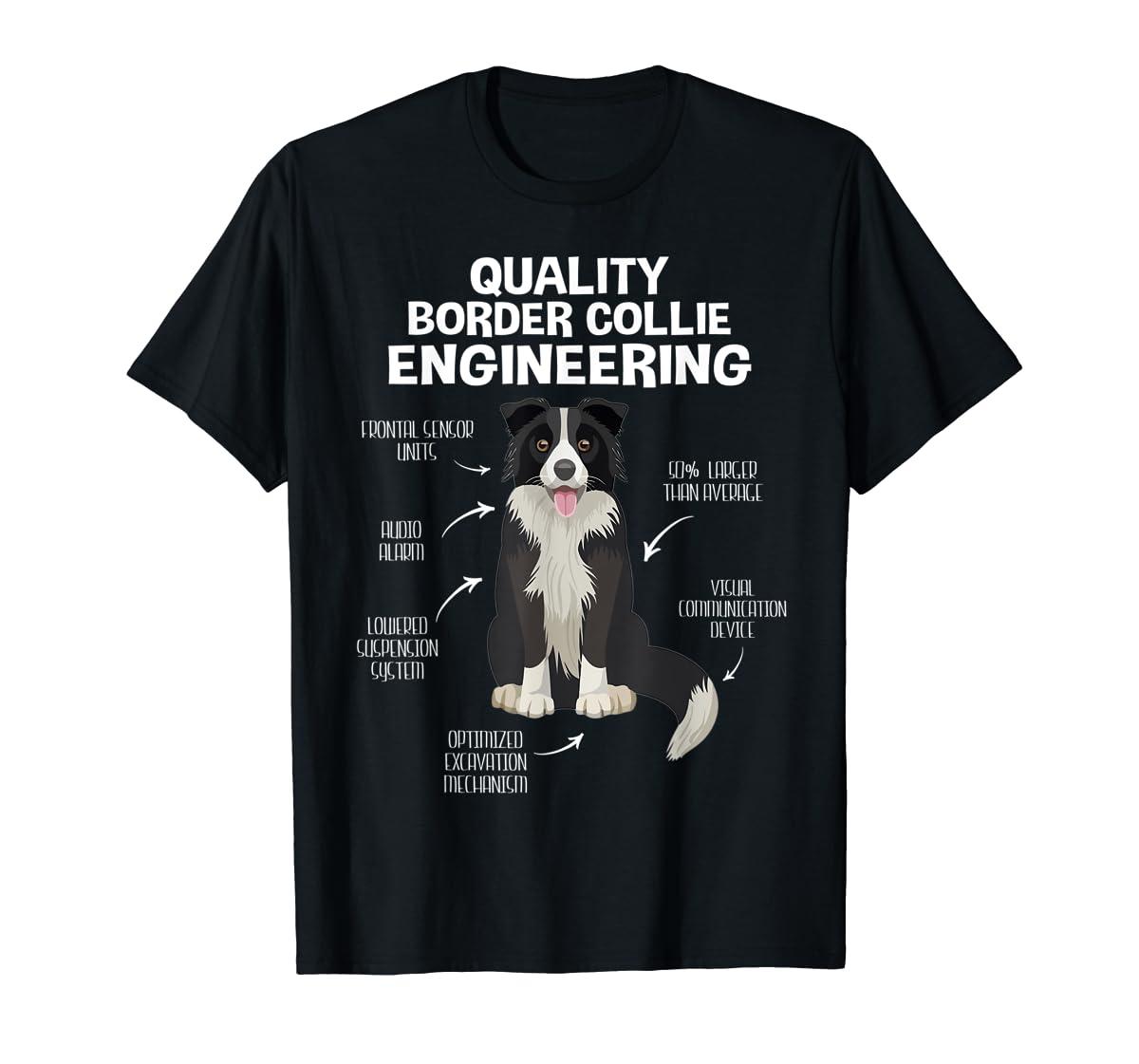Quality Border Collie Engineering Dog Lover Gift T-Shirt-Men's T-Shirt-Black