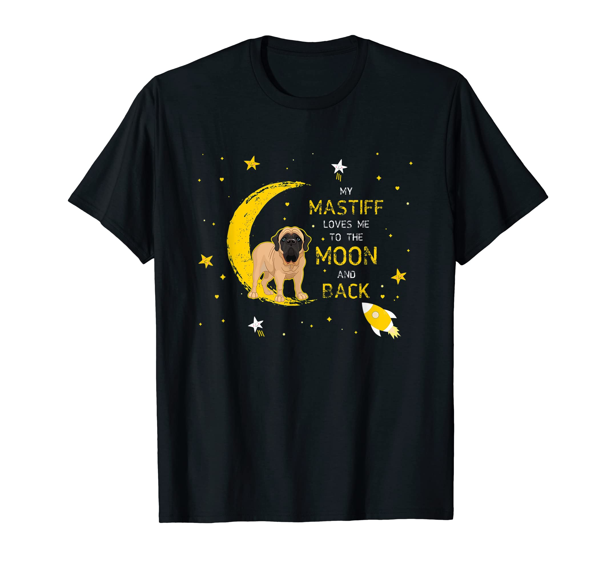 My Mastiff Loves Me To The Moon And Back Shirt-Men's T-Shirt-Black