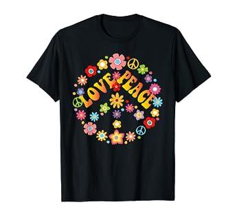 e501c7f900ab Amazon.com  PEACE SIGN LOVE T Shirt 60s 70s Tie Die Hippie Costume Shirt   Clothing
