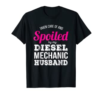 b2d74286 Image Unavailable. Image not available for. Color: Funny Diesel Mechanic  Wife T-Shirt Wedding Anniversary Gift