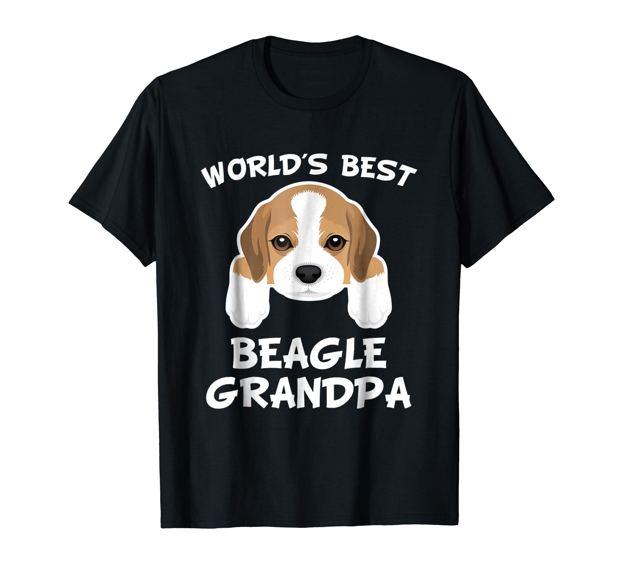 Mens World's Best Beagle Grandpa Dog Granddog T-Shirt-Men's T-Shirt-Black