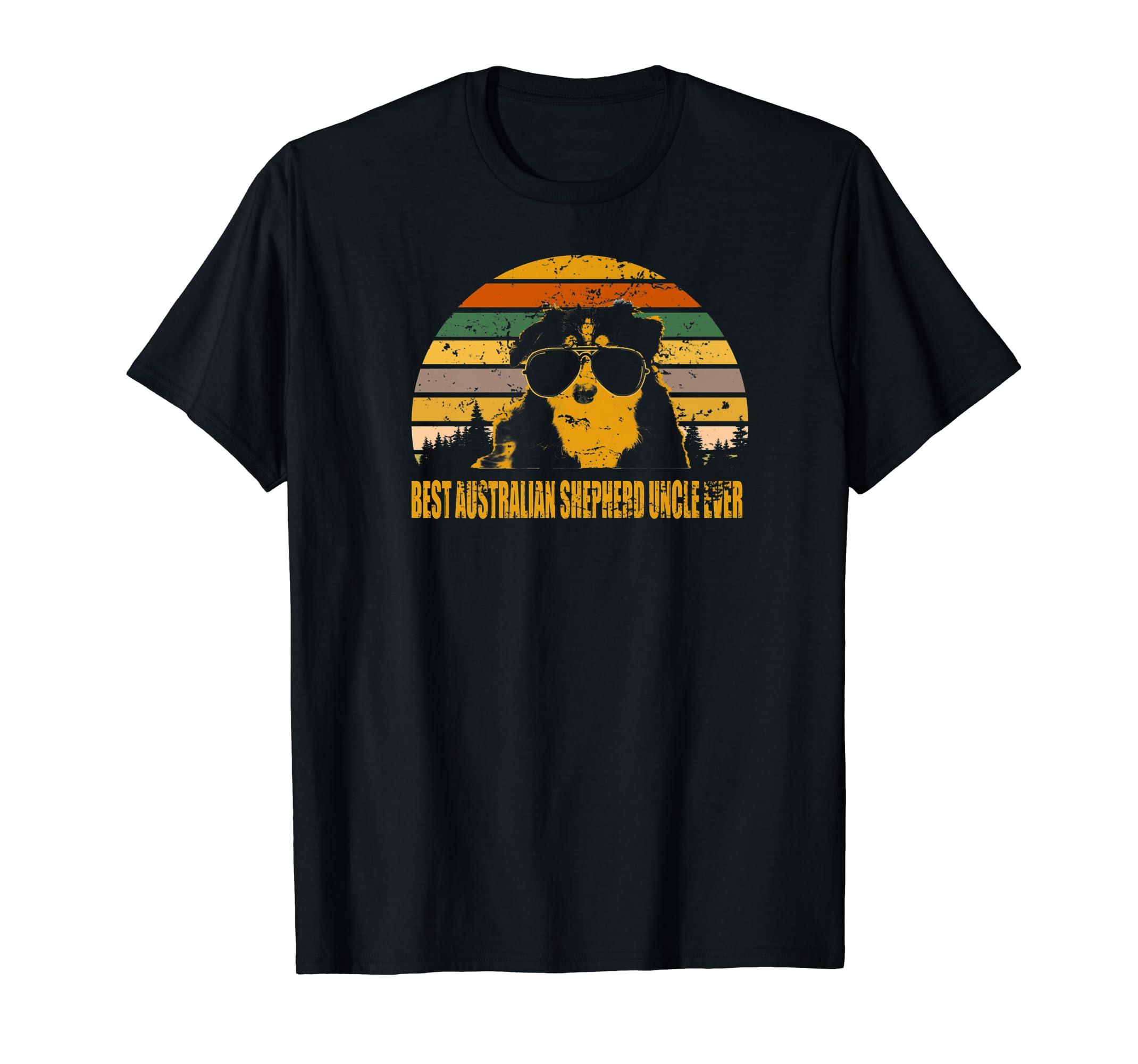 Australian Shepherd Best Australian Shepherd Uncle Ever  Premium T-Shirt-Men's T-Shirt-Black