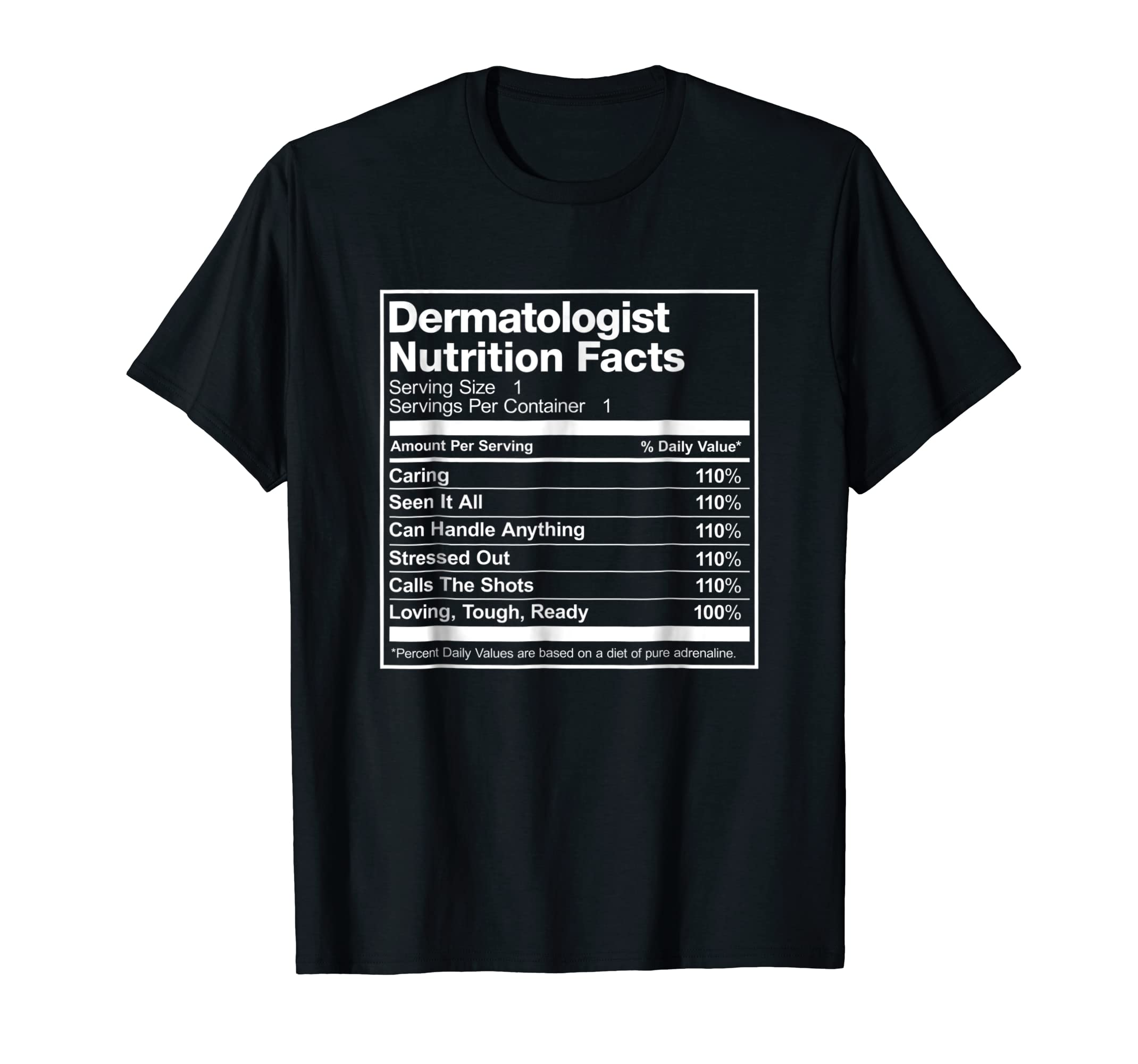 Amazon Dermatologist Nutrition Facts Funny T Shirt Clothing