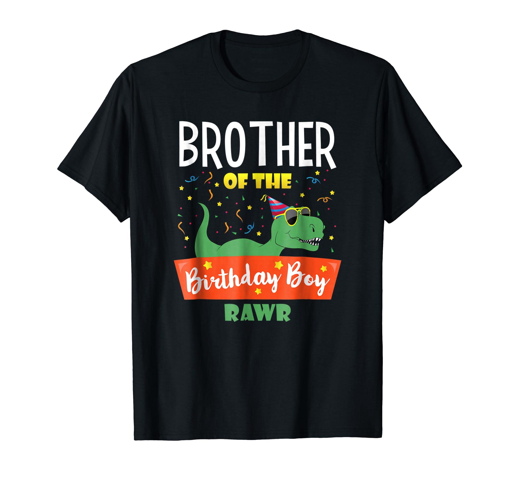 Birthday Boy Brother Dinosaur T-Shirt Fun Dinosaurs Kids Tee-Men's T-Shirt-Black