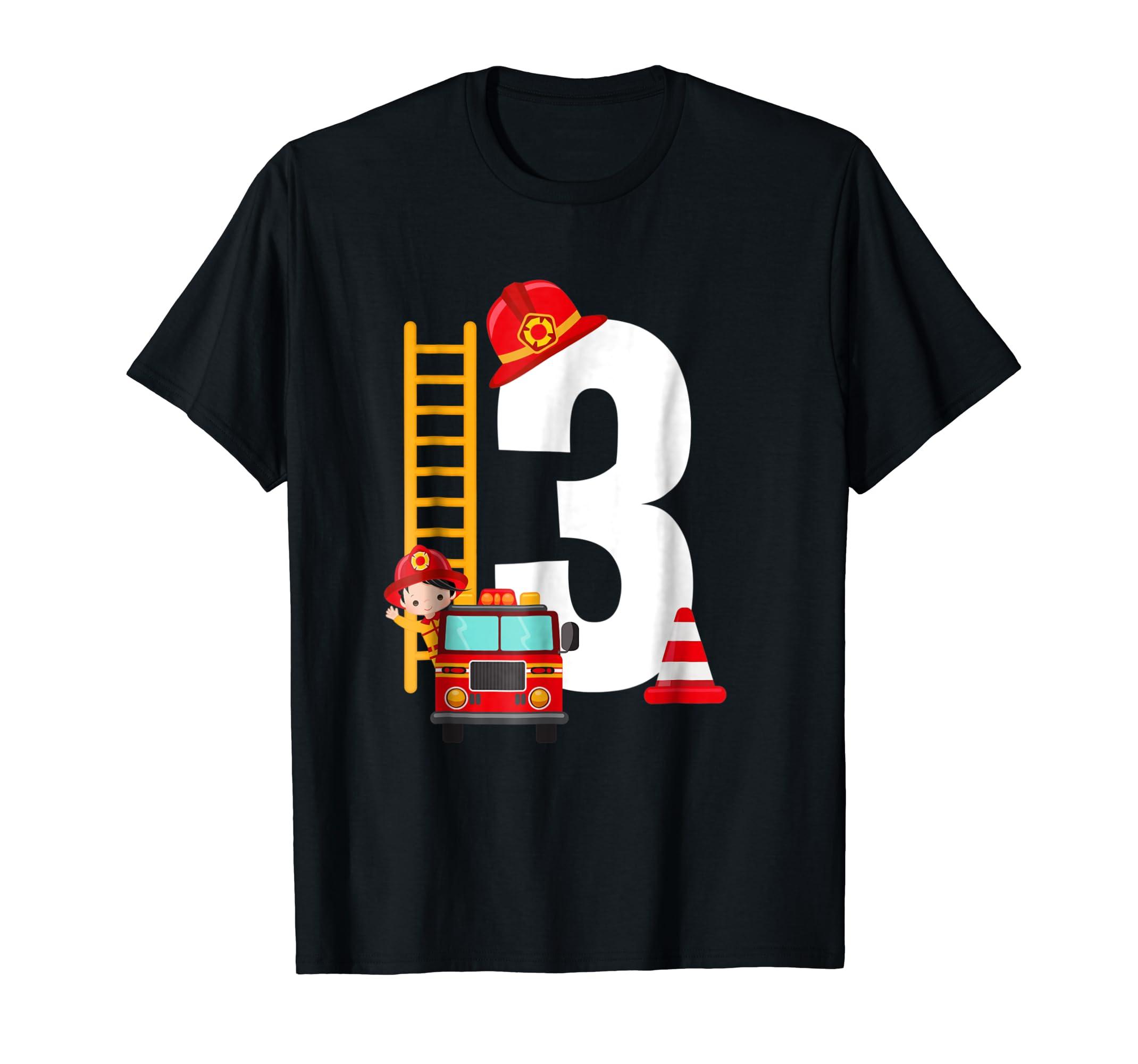 Kids 3rd Birthday Party Fire Truck Toddler T Shirt-Men's T-Shirt-Black