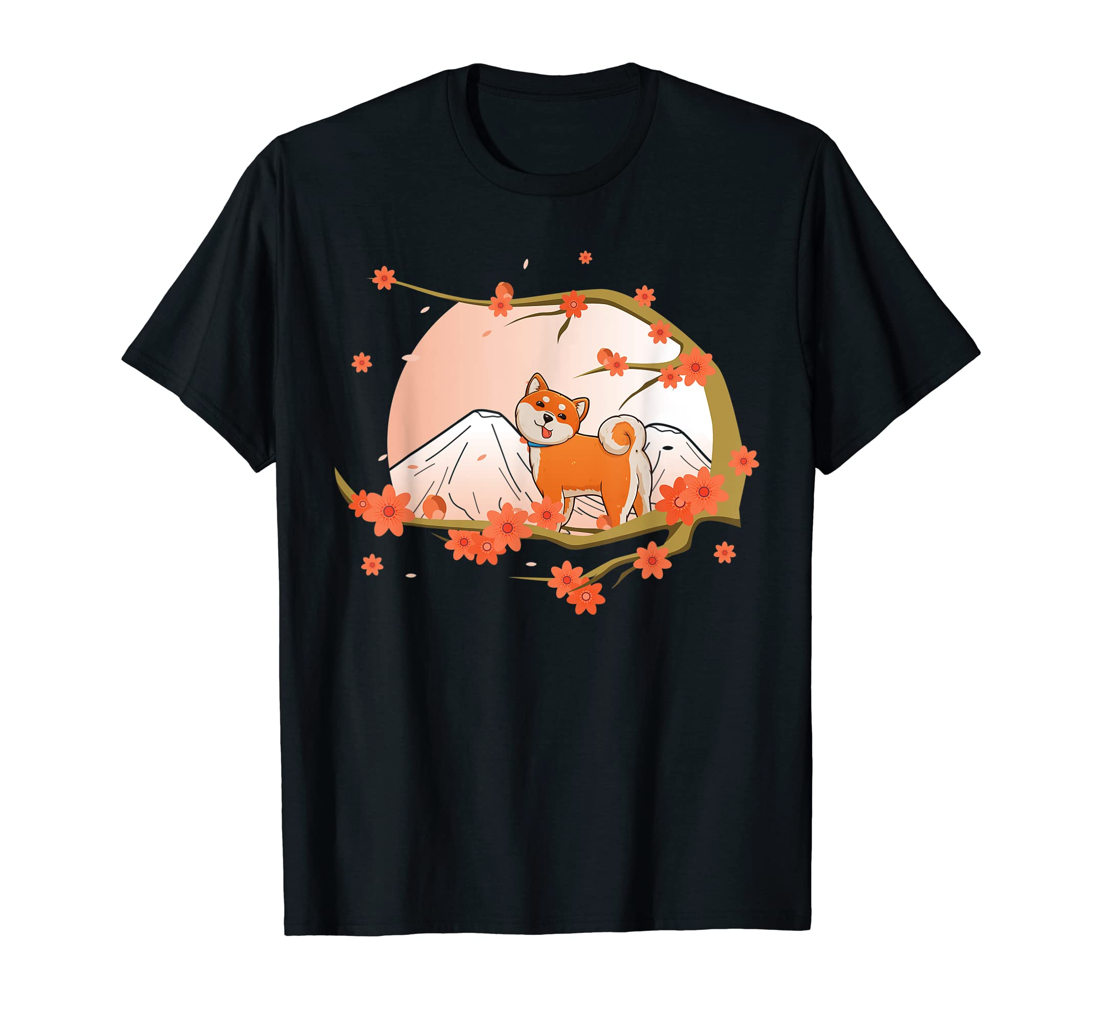 Shiba Inu Dog Cherry Blossom Sakura Flower Japanese Cute Tee-Men's T-Shirt-Black
