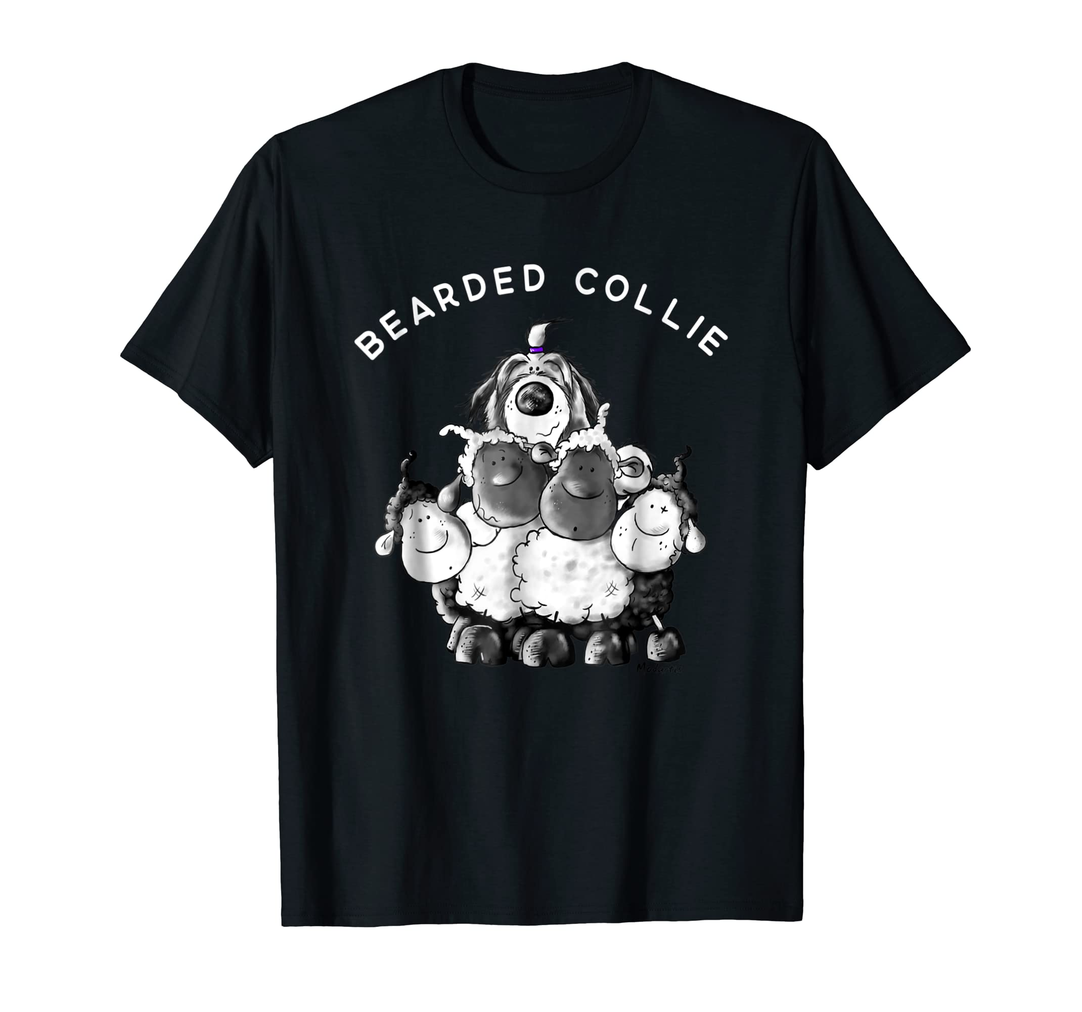 Bearded Collie With Sheep T-Shirt I Beardie Dog Breed Gift-Men's T-Shirt-Black
