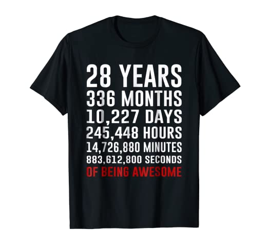 Amazon 28th Birthday Gifts 28 Yrs Old 1990 Shirt Being Awesome