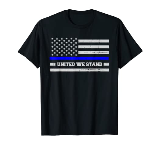 a67c411e Image Unavailable. Image not available for. Color: Thin Blue Line Flag Shirt  for Women & Men United We Stand. Roll over image to ...