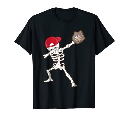f64a59f2 Image Unavailable. Image not available for. Color: Kids Dabbing Skeleton  Baseball Shirt Skull Baseball Dab Gift