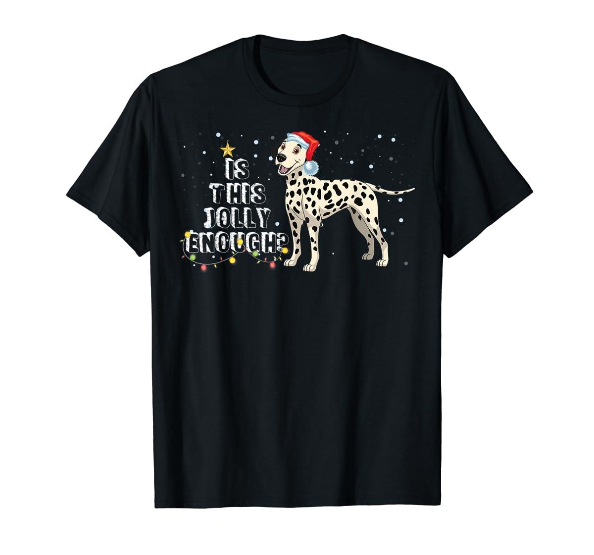 Dalmatian Santa Is This Jolly Enough Christmas Gifts T-Shirt-Men's T-Shirt-Black