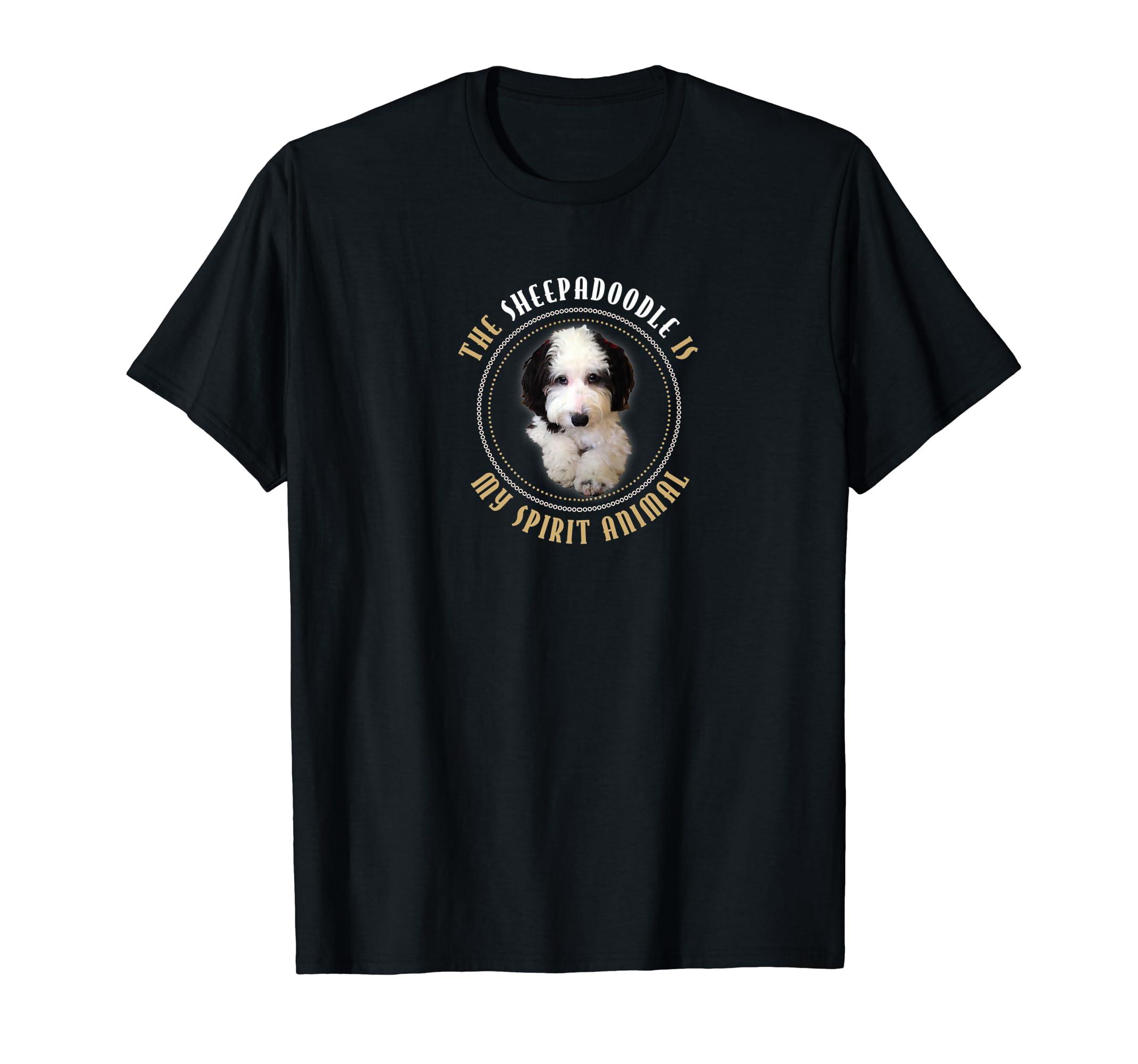 "Funny Cute ""Sheepadoodle Is My Spirit Animal"" Shirt Gift Premium T-Shirt-Men's T-Shirt-Black"