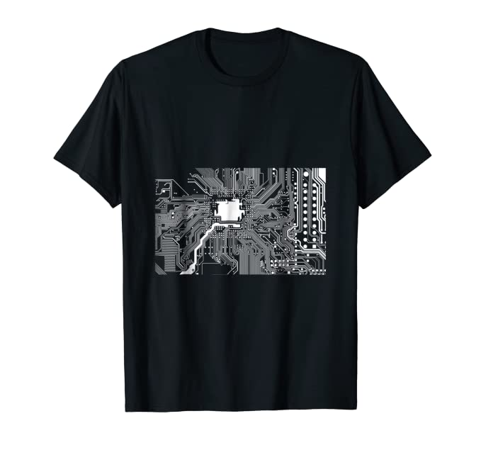 Computer Technology Motherboard White Graphic nerd Tee Shirt