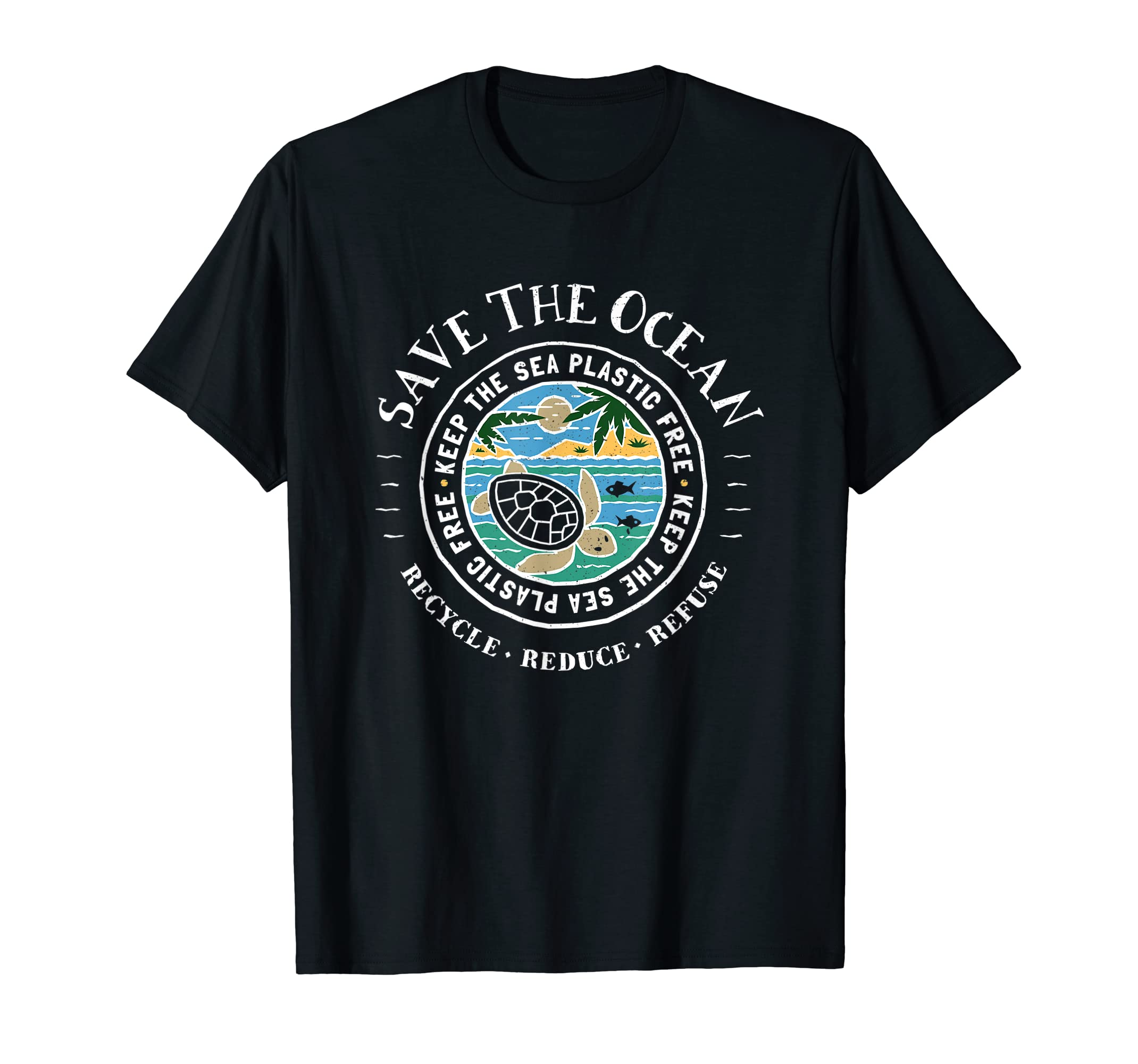 Save The Ocean Keep The Sea Plastic Free Turtle T Shirt-Men's T-Shirt-Black