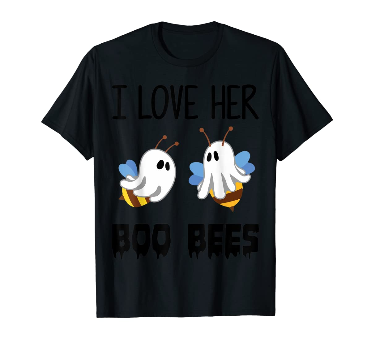 I Love Her Boo Bees Couples Funny Halloween Costume Gift T-Shirt-Men's T-Shirt-Black