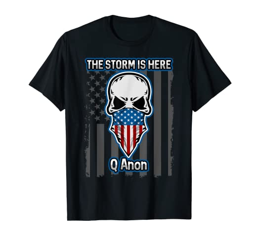f7d7843c98fbe Amazon.com  Q Anon T-shirt American Flag Skull The Storm Is Here ...