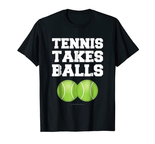 13ab02e6 Image Unavailable. Image not available for. Color: Tennis Takes Balls T- Shirt - Funny Tennis Gift Shirts