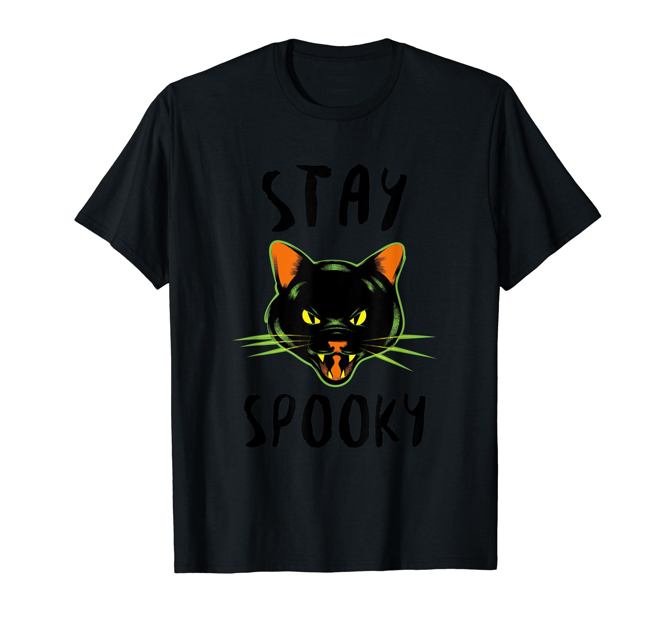 Stay Spooky | Scary Halloween Black Cat T-Shirt-Men's T-Shirt-Black