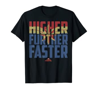 4414fa8caae Amazon.com  Captain Marvel Movie Higher Further Faster Graphic T ...