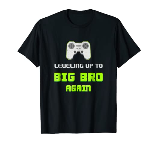 7261830e Image Unavailable. Image not available for. Color: Leveling Up To Big Bro  Again T Shirt Kids Funny Gamer Tee