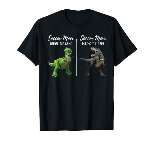 e332af28 Image Unavailable. Image not available for. Color: Soccer Mom Before The  Game Tshirt - Funny Dinosaur T-rex