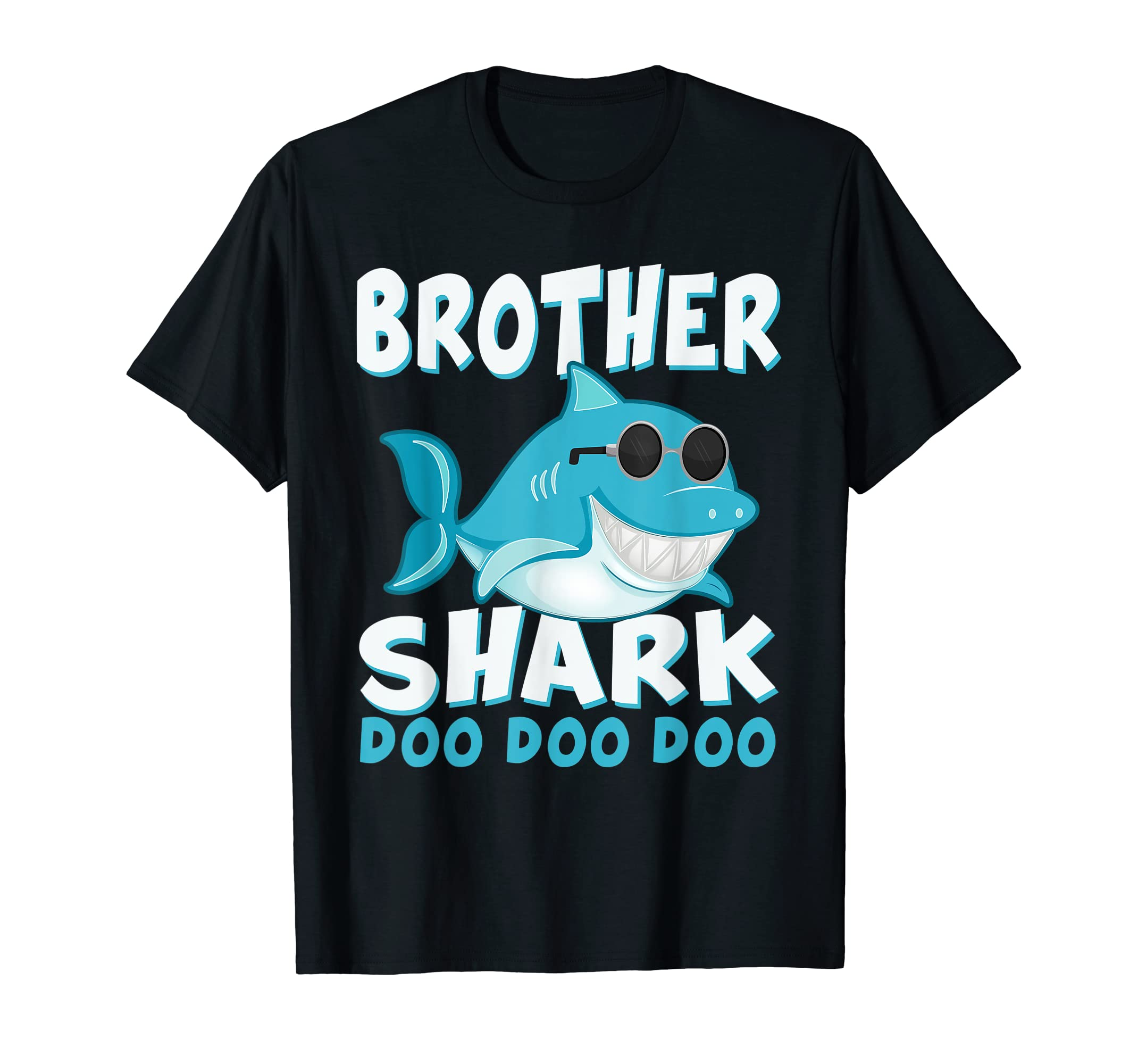 Retro Vintage Brother Shark Shirt Father's Day Gift Boy Kids-Men's T-Shirt-Black