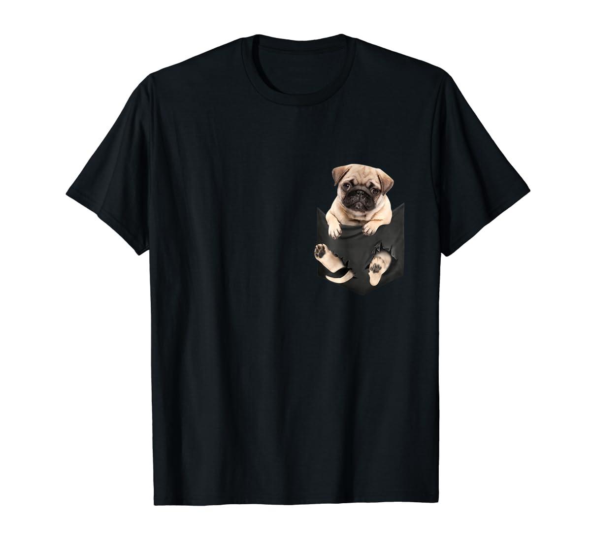 Dog in Your Pocket santa hat pug lover gift shirt-Men's T-Shirt-Black