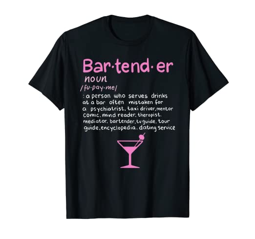 c0622cea Image Unavailable. Image not available for. Color: Bartender Noun  Definition T Shirt Funny Cocktail Bar Gift