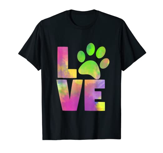 fe32a8dcf07f Image Unavailable. Image not available for. Color: Love Pet Paw Dog Cat T  Shirt Tee Rainbow Cute Women Girl