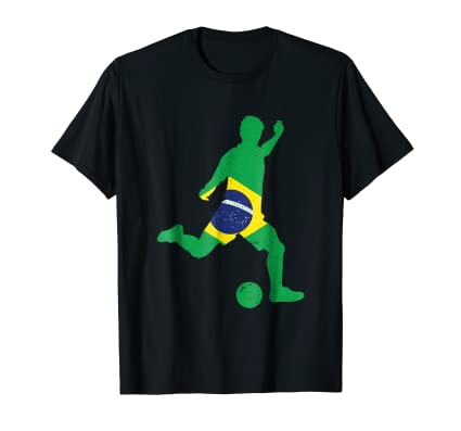 Brazilian Kicker soccer action tee shirt for sport fans