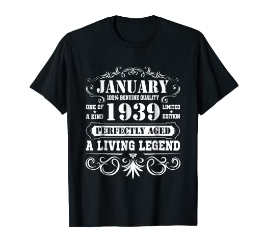 Amazon January 1939 Retro T Shirt Vintage 80th Birthday