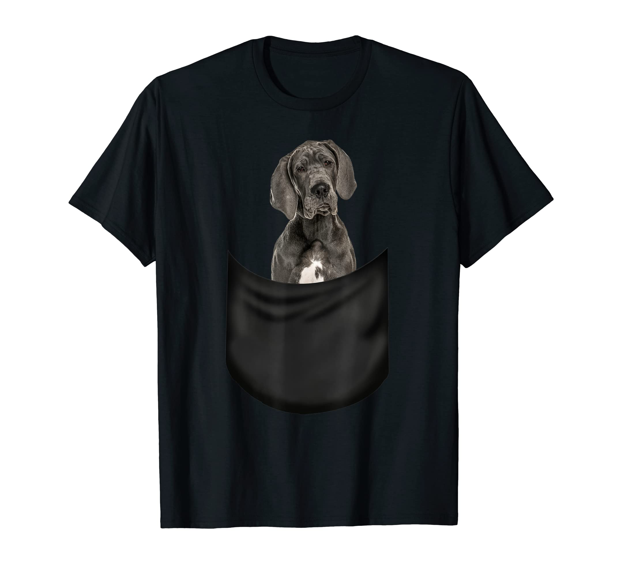 Great Dane Pocket T-Shirt Funny Father's Day Dog Gifts-Men's T-Shirt-Black