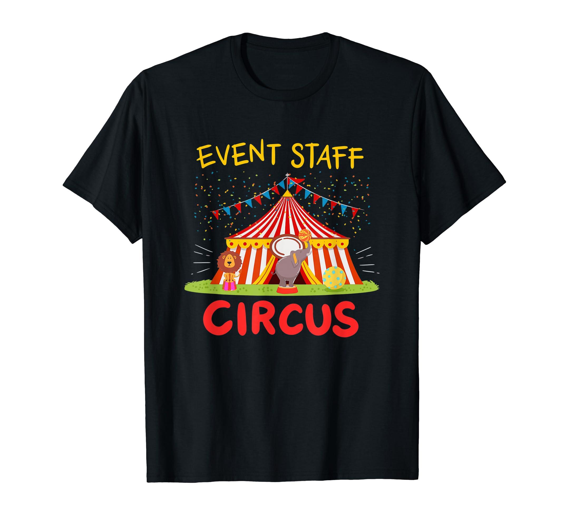 Event Staff T-Shirt Circus Tent Elephant and Lion TShirt-Men's T-Shirt-Black