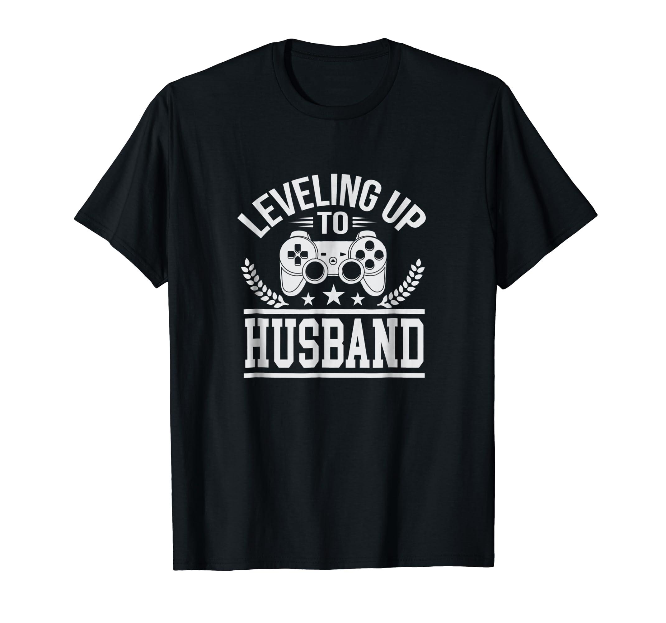 Cute Leveling Up to Husband Wedding Tee Shirt-Men's T-Shirt-Black