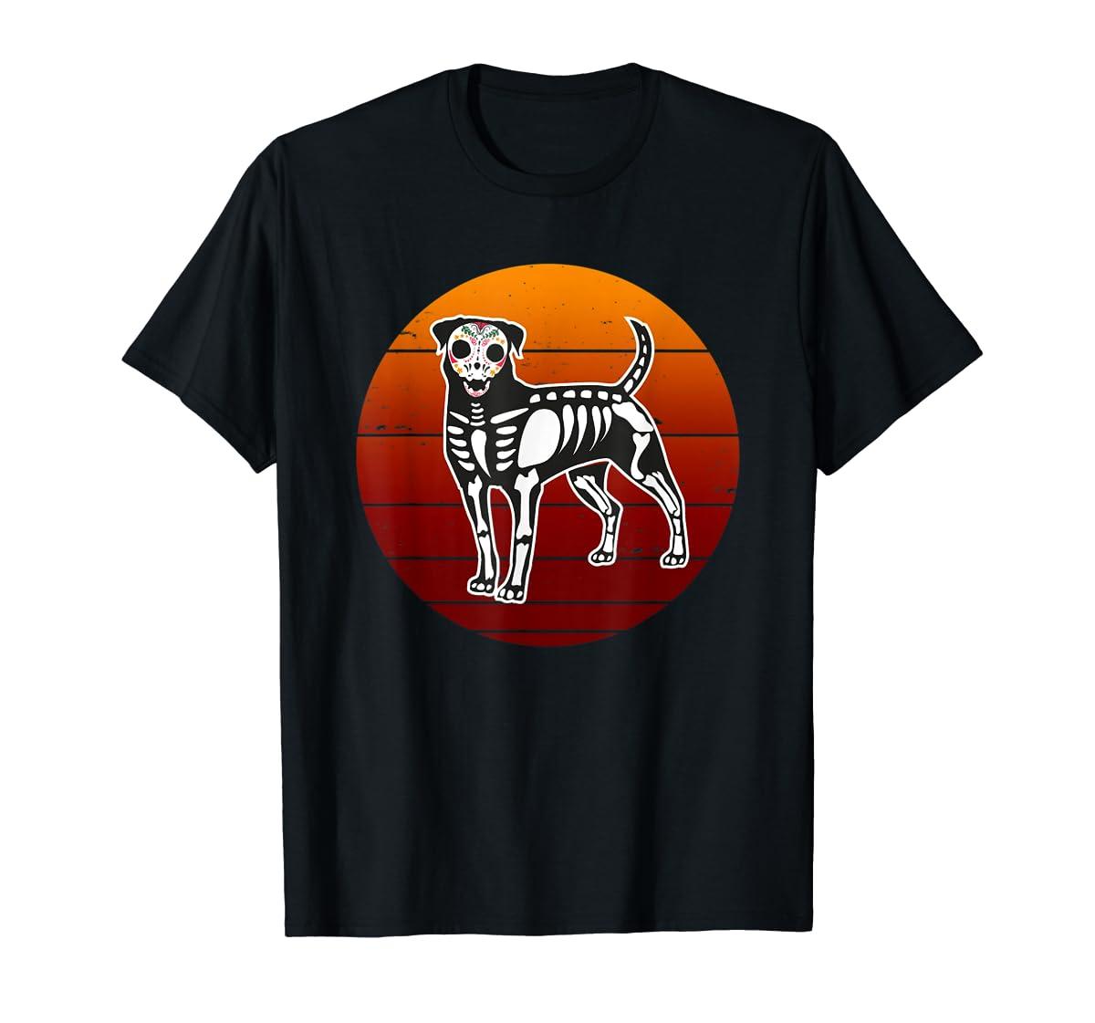 Rottweiler Skeleton Halloween T-Shirt-Men's T-Shirt-Black