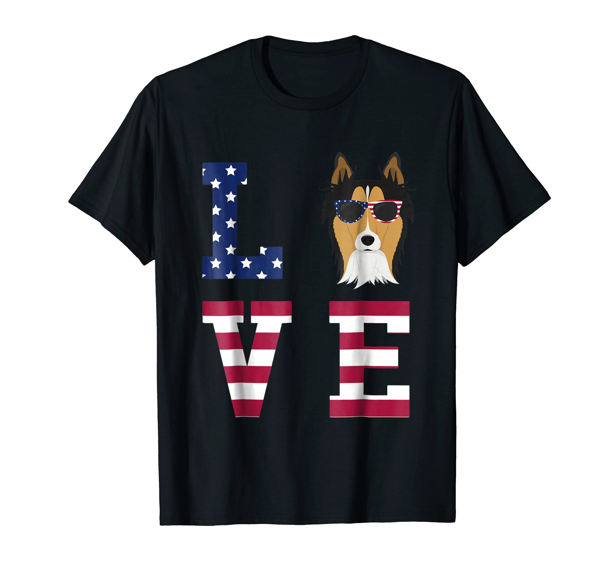 Collie Dog - 4th Of July T-Shirt-Men's T-Shirt-Black