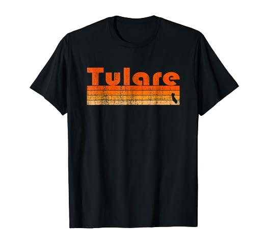 3284ff1d1 Amazon.com  Retro 80s Style Tulare CA T-Shirt  Clothing