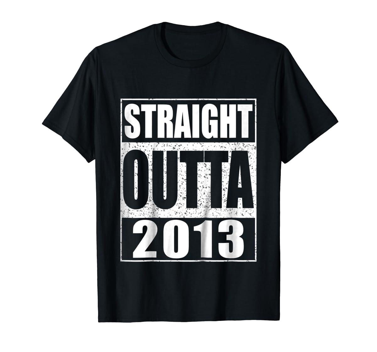 Kids Straight Outta 2013 T-Shirt 6th Birthday Gift Shirt-Men's T-Shirt-Black