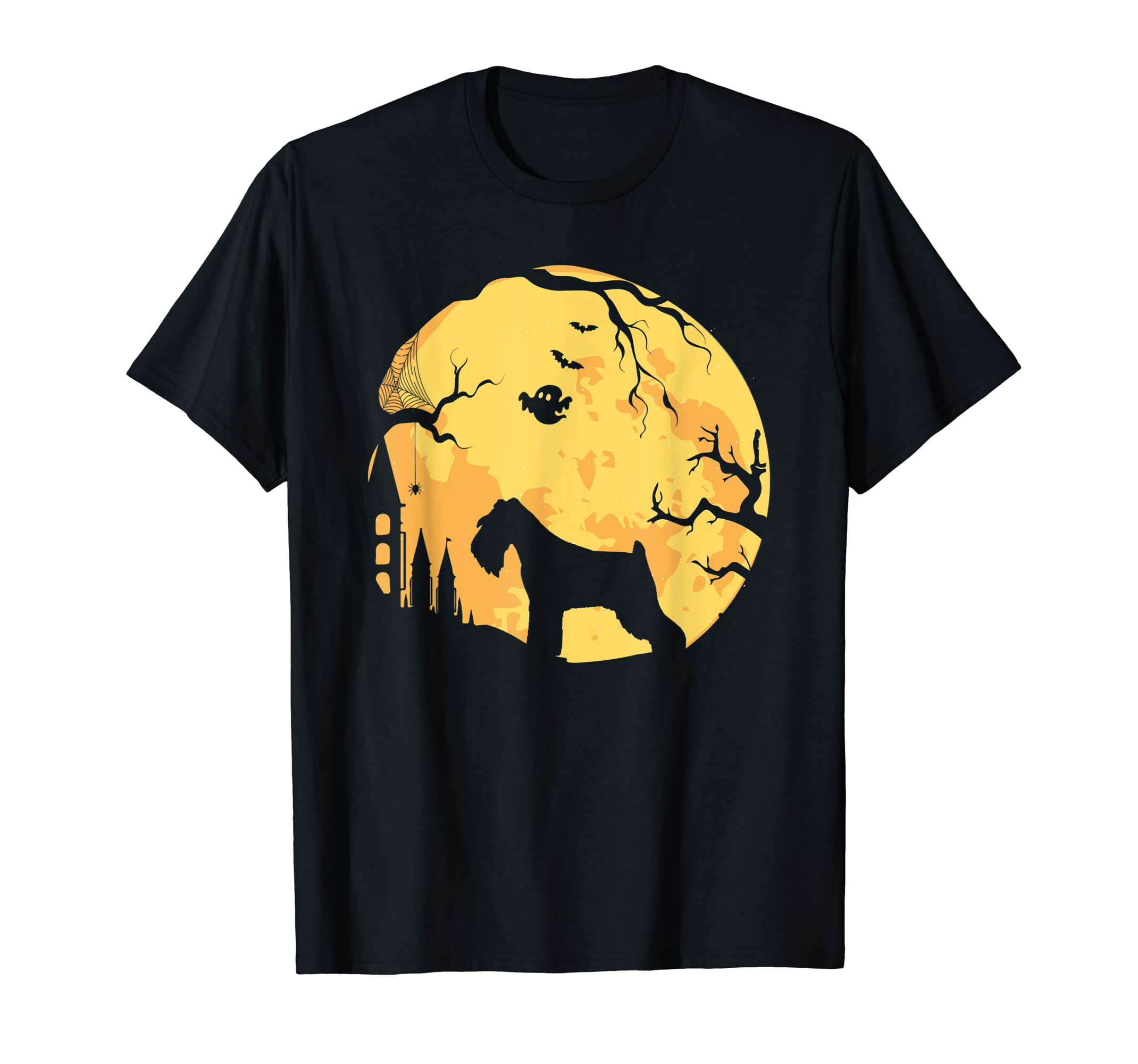 Schnauzer Dog And Moon Halloween Happy Halloween T-Shirt-Men's T-Shirt-Black