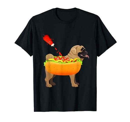 f74045cbde Amazon.com: Pug Hot Dog Tee Funny Hot Dogs Christian Foodie Shirt ...