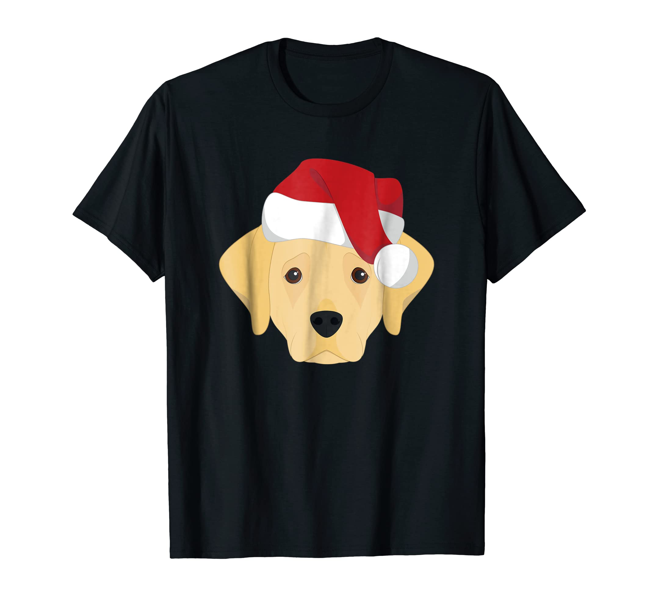 Christmas Labrador Retriever Dog with Santa Hat T-Shirt-Men's T-Shirt-Black