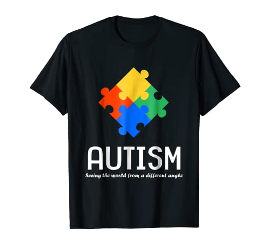 a3022bcb332 Amazon.com  Seeing The World From A Different Angle Autism T-Shirt ...